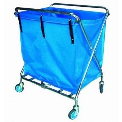 Carro de recogida y transporte de ropa plegable cromado