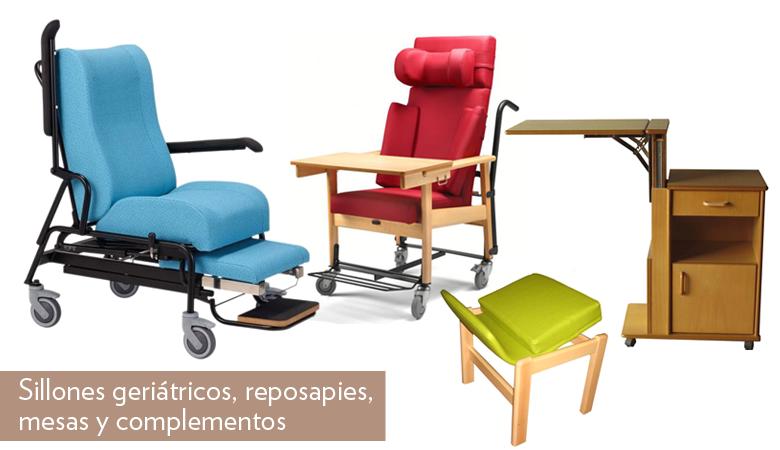 Sillones geriátricos, reposapies, mesas y complementos